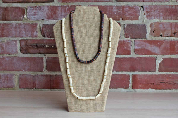 Heishi Shell and Wood Disc Bead Necklaces, A Pair