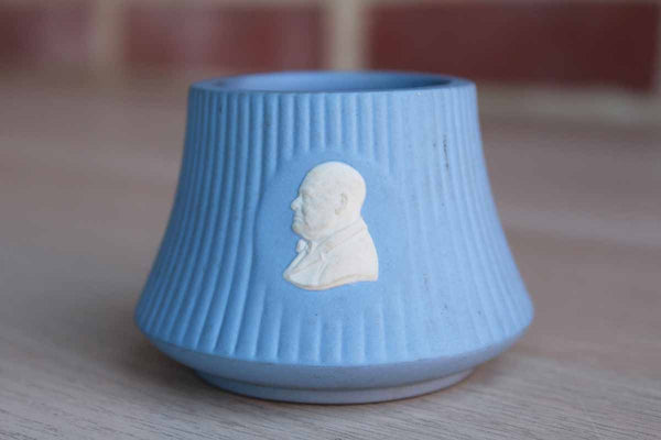 "Wedgwood (England) Blue Jasperware Winston Churchill 2"" Cigarette Lighter Base with No Element Repurposed as a Trinket Bowl"