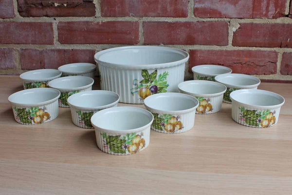Rene Frugier Aluminite (Limoges, France) Souffle Dish and 11 Matching Ramekins