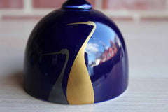 Fukagawa (Japan) Navy Blue Porcelain Bell with Painted Herons