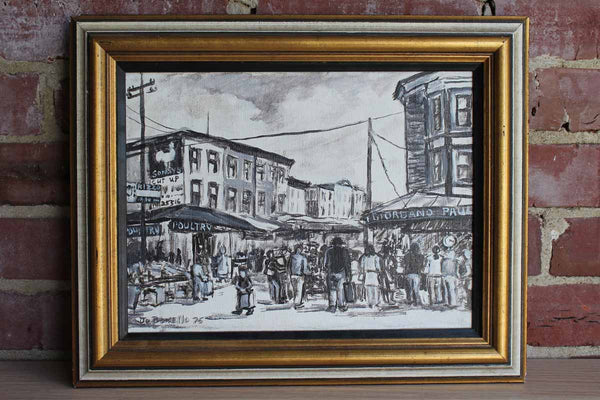 Original Framed Painting Depicting Philadelphia's Italian Market, Signed by Jo Bonnello 1975