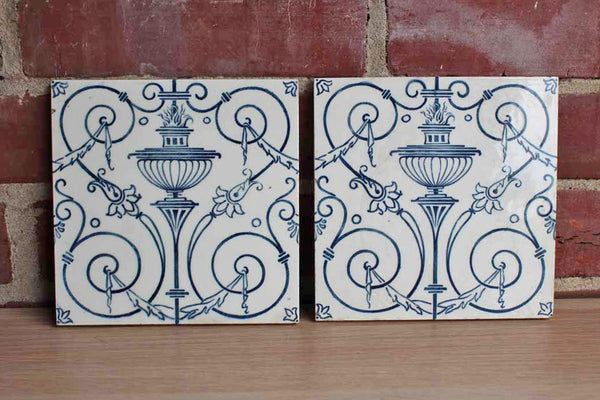 Maw & Co. (England) Glazed Blue and White Floral Earthenware Tiles, A Pair