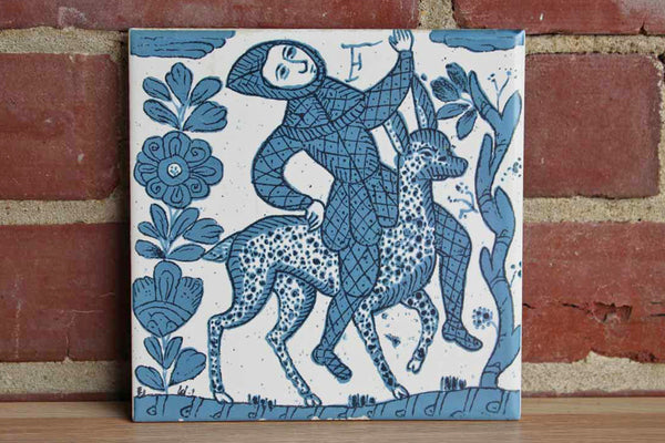 Ceramic Tile Decorated with a Medieval Man Riding an Animal