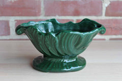 High Gloss Forest Green Footed Planter with Flower Detailing