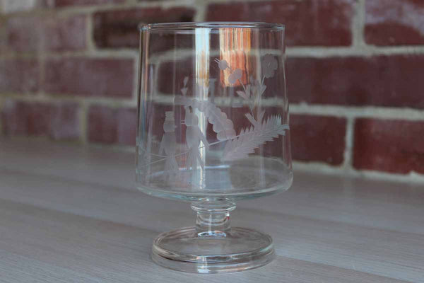 "Clear Glass Pedestal Container with Etched Birds and Flowers and the Initials ""J.M."""