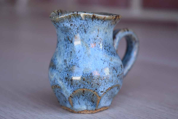 Miniature Stoneware Handled Pitcher with Speckled Blue Glaze