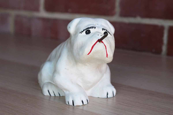 Cast Bulldog Paper Holder with Nail Extending from it's Mouth and Painted Blood Accent