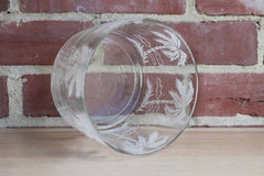 Clear Glass Bowl with White Palm Trees