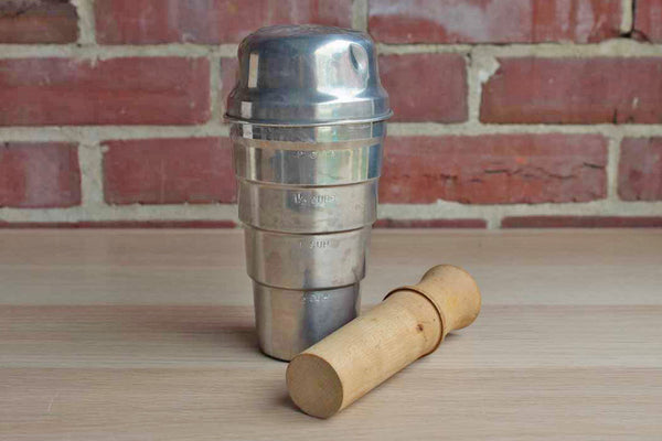 Weathered Aluminum Cocktail Shaker with Wood Muddling Stick