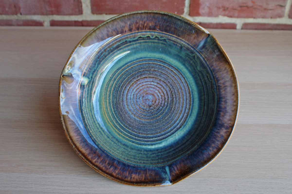 Handmade Stoneware Bowl with Green, Purple and Blue Glazes