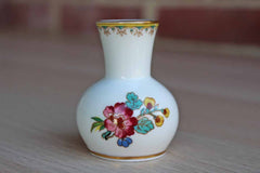 Coalport (England) Bone China Ming Rose Bud Vase Decorated with Colorful Flowers