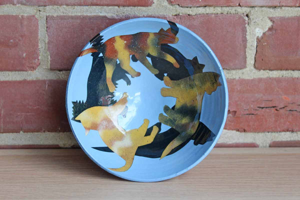 Ceramic Bowl with Decoupage Cats on Blue Background