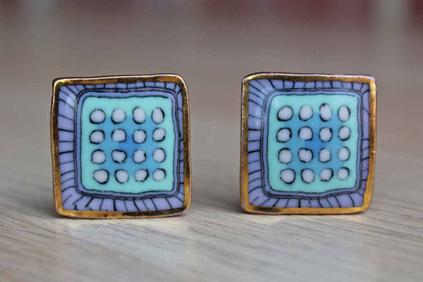 Handmade Ceramic Earrings with Blue and Purple Dots and Stripes and Gilded Edge