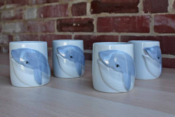 Ceramic Blue and White Dolphin Mugs with Tail Handles, Set of 4