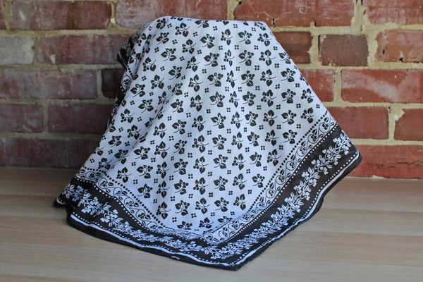 Simple Black and White Cotton Scarf Decorated with Berries and Flowers