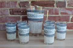 Jeannette Glass Company (Pennsylvania, USA) Patrician Blue Pitcher and Six Tumbler Glasses