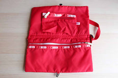 LeSportsac Red Nylon Crossbody Bag with Matching Cosmetics Pouch