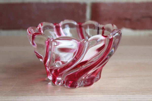 Mikasa Peppermint Red Swirl Glass Candy Bowl