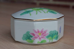 Otagiri (Japan) Porcelain Lotus Garden Octagonal Lidded Box