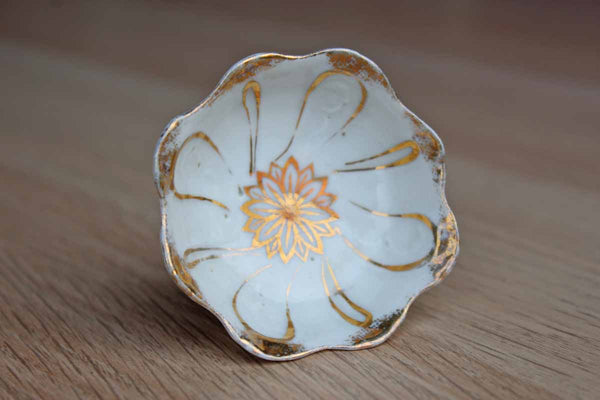 Little White Porcelain Bowl with Gold Painted Flower and Rim