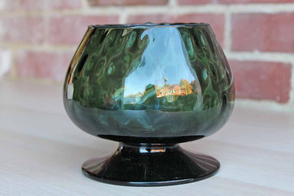 Empoli Art Glass (Italy) Hand Blown Verdi Green Optic Glass Fishbowl Vase