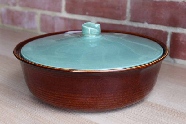Glossy Brown and Blue Lidded Baking Dish