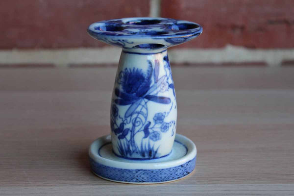 Blue and White Flower Decorated Ceramic Makeup Brush Holder