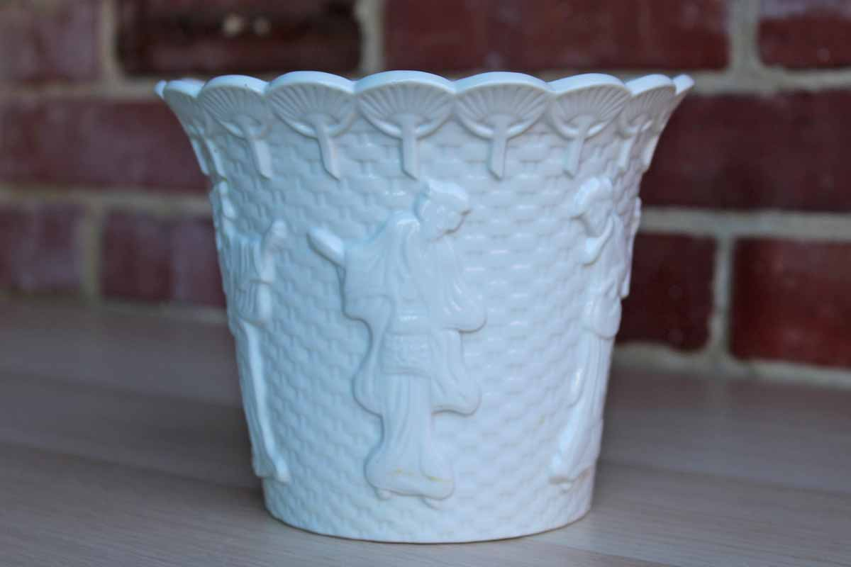White Glazed Cachepot with Chinese Characters