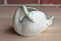 Hand Painted Majolica Style Swan Planter or Trinket Bowl, Made in Japan