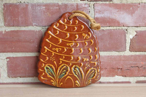 Foltz Pottery (Pennsylvania, USA) Redware Decorative Beehive with Flowers