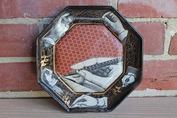 Glass Decoupaged Plate Decorated with Old-Fashioned Hands