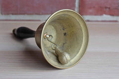 Brass School Bell with Wooden Handle