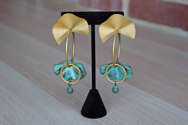 Bold Gold Tone Pierced Drop Earrings with Verdigris Patina Leaf Shapes