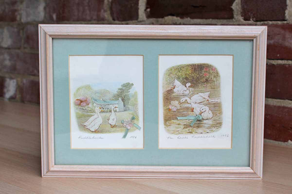 Framed Puddleduck Print Customized with Little Bows and Flowers