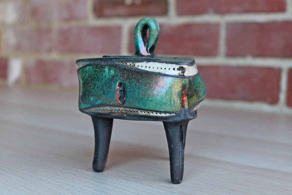 Delicate Handmade Footed Box with Faux Keyholes