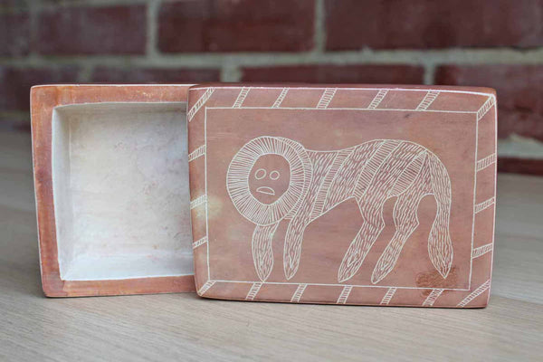 Hand Carved Soapstone Box Decorated with a Primitive Animal, Made in Kenya