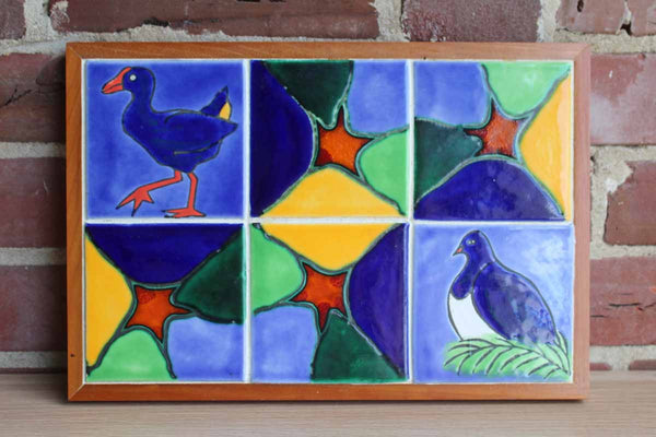 Colorful Handmade Bird Tiles Trivet Set in Wood Frame