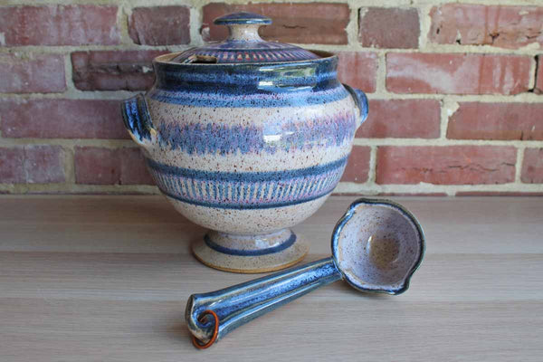 Handmade Stoneware Tureen with Matching Ladle Decorated in Blues and Purples
