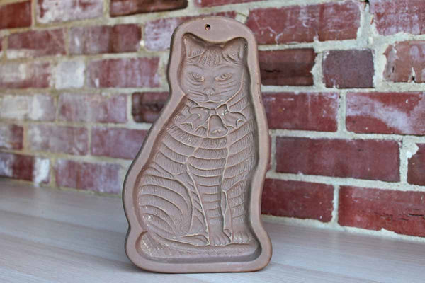 Hartstone Pottery (Ohio, USA) Extra Large Cat Shaped Stoneware Shortbread Cookie Mold