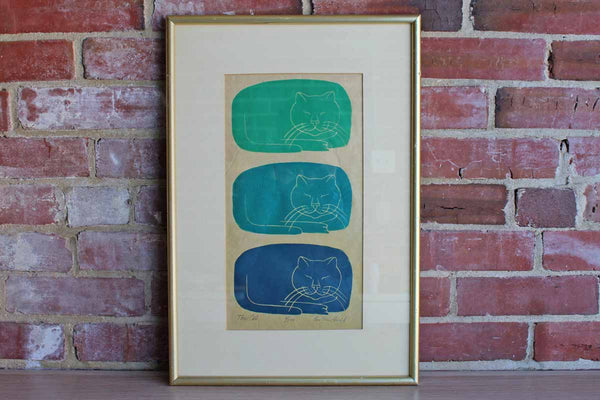 Limited Edition Signed Lithograph of Three Cats by Rose Brein Finkel