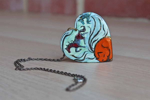 Metal Heart Pendant Handpainted with Horses and Cat