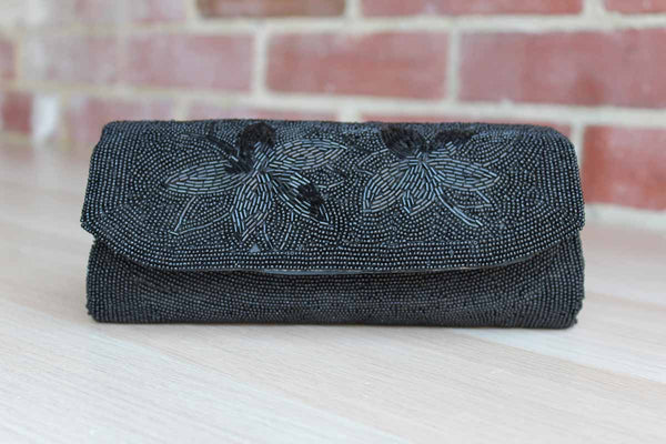 Jill Empress (Japan) Handmade Black Beaded Clutch with Bugle Bead FLowers