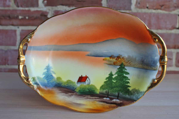 Morimura Brothers Noritake China (Japan) Hand-Painted Dish with Water and Mountain Scene