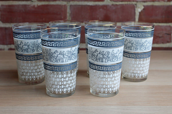 Jeannette Glass Company (Pennsylvania, USA) Patrician Blue Glass Tumblers, Set of 6