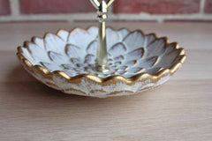 Royal Haeger Potteries (Illinois, USA) 22K Gold Tweed Flower Candy Dish