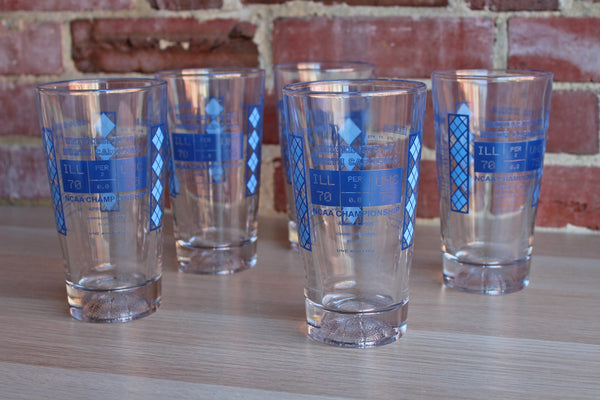 Pint Glasses Celebrating the 2005 UNC Chapel Hill NCAA National Championship, Set of 5