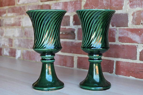 Forest Green Ceramic Urn Planters, A Pair