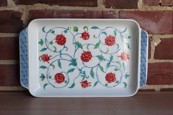 Ceramic Handled Serving Tray with Colorful Red Flowers