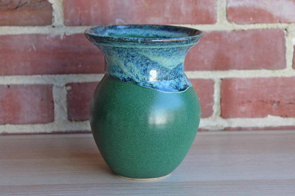 Handmade Earthenware Vase with Green Body and Blue Lava Glazed Rim
