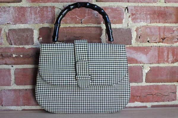 J. Miller Black and White Gingham Cloth Handbag with Wood Handle